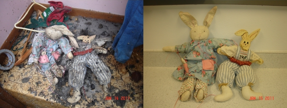 Smoke and Soot Damaged Homemade Stuffed Animals - Before and After