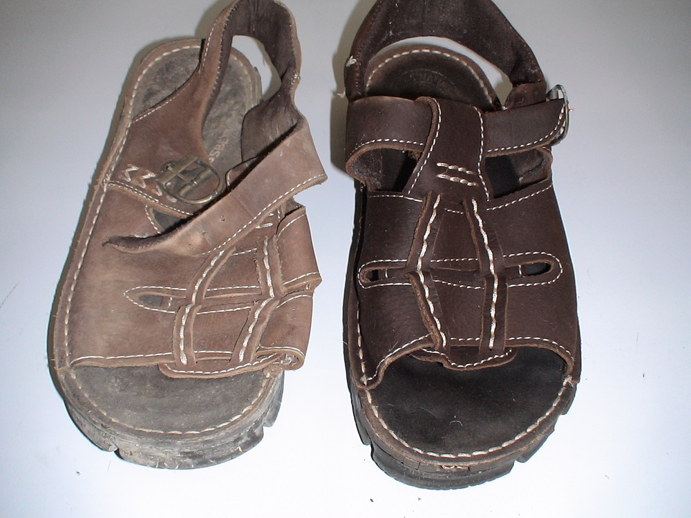 Soot Damaged Leather Sandals - Before and After