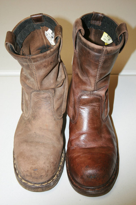 Soot Damaged Leather Boots - Before and After