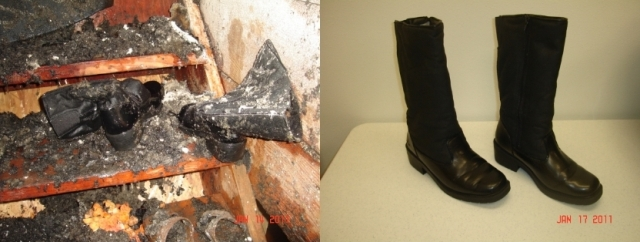 Water Damaged Leather Boots - Before and After