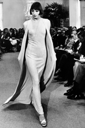 Strutting down the runway for Halston Fashions in 1972