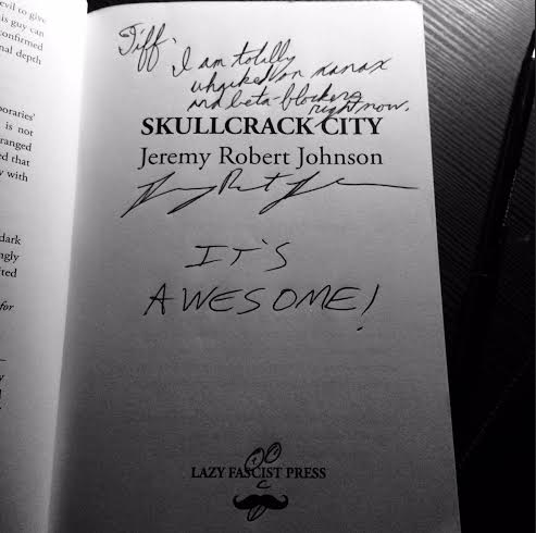 (Buying books directly from authors is not only a great way to support their craft, but it also ensures that you get great inscriptions like the one photographed above. Photo from his book release party at Powell's Books)