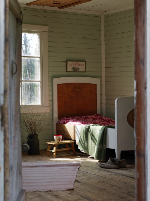 Used when guests come to stay, the little cabin is a renovated hen house.