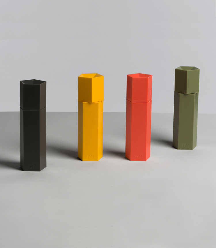 Anderssen & Voll's Ori salt and pepper mills for their graphic matt colour and pentagonal shapes.