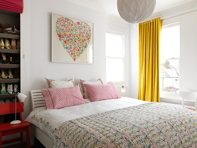 Keeping to the neutral scheme with Indian-inspired yellow and red accents adding colour to the space, the bedroom features Lulu's very first quilt she created for her company. The design was based on a vintage print found on the Portobello Road.