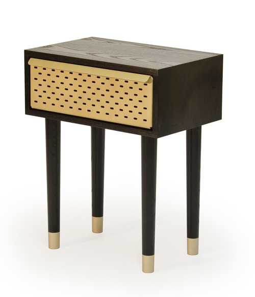The 'Locker' bedside table made by Magnus Pettersen Studio in black ash and perforated aluminium.