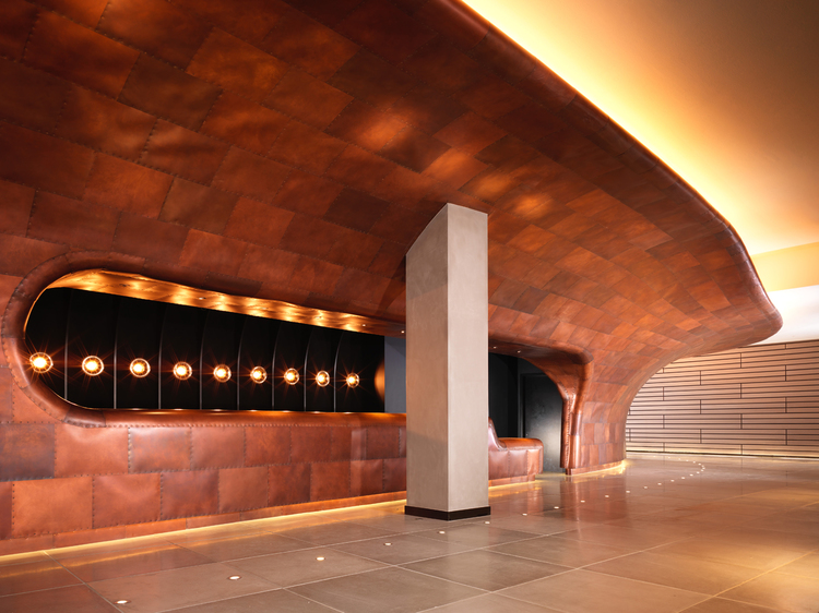 THE MONDRIAN'S JAW-DROPPING COPPER RECEPTION DESK