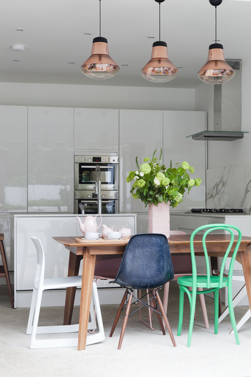 Jordan and Russell'swhite and light-filled house on Trilby Road , Forest Hill, South London, balances period detail and design classics to cheery effect. The result is contemporary, functional and fun.