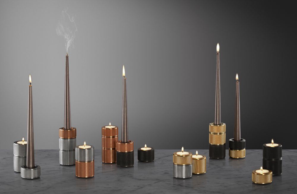 'Heavy Metal' candle holders, from £35 each