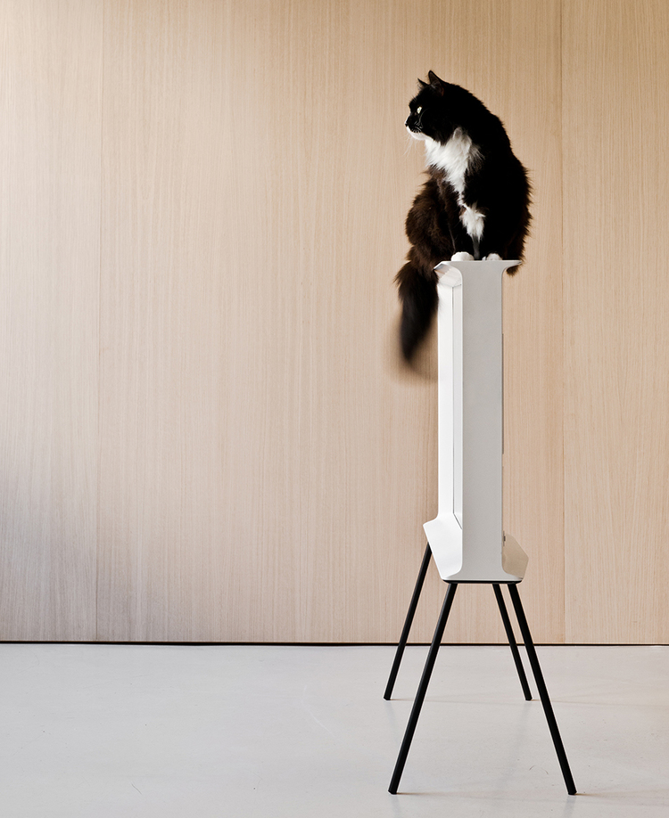 The duo's first foray into electronics has resulted in the 'Serif TV', the world's first typographic television; Looks like puss knows a good thing when she sees it...