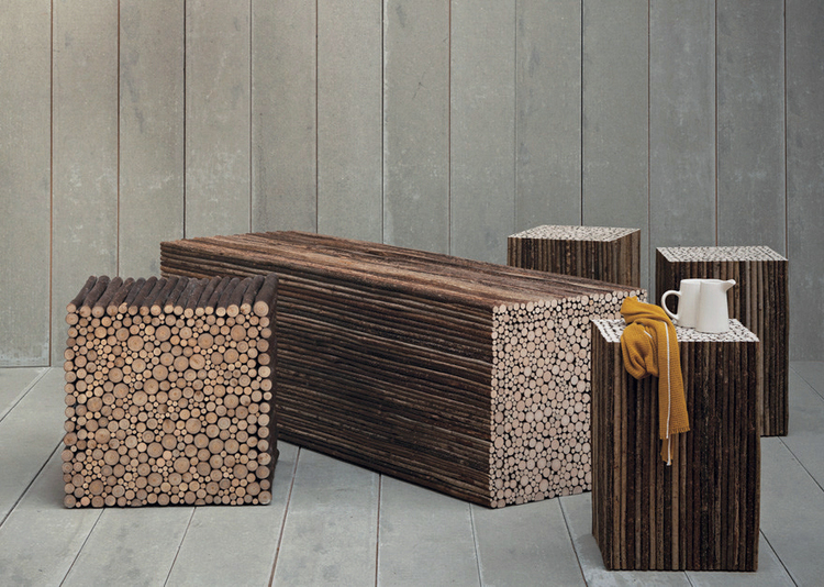 The bold 'Twig' bench and seating/side table cubes made from coppiced hazel have become a contemporary design classic