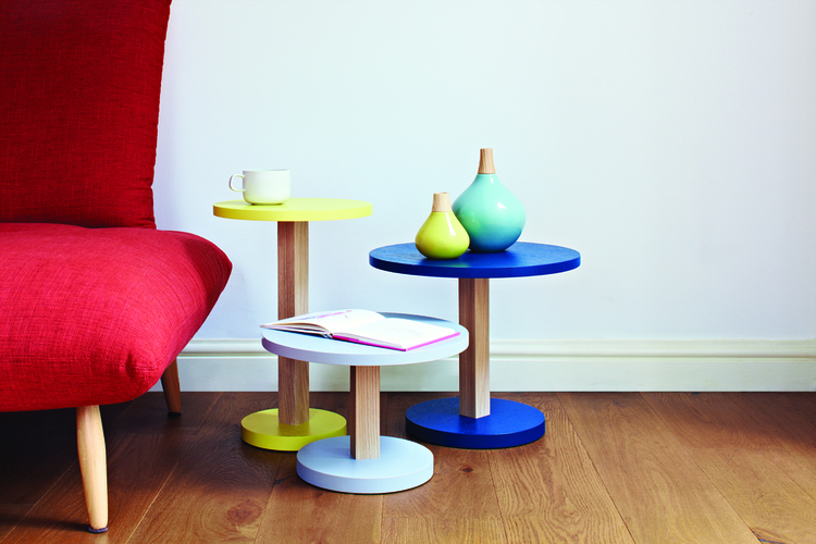 The circular 'Tavolini Primo' side table trios have a small footprint but are big on impact