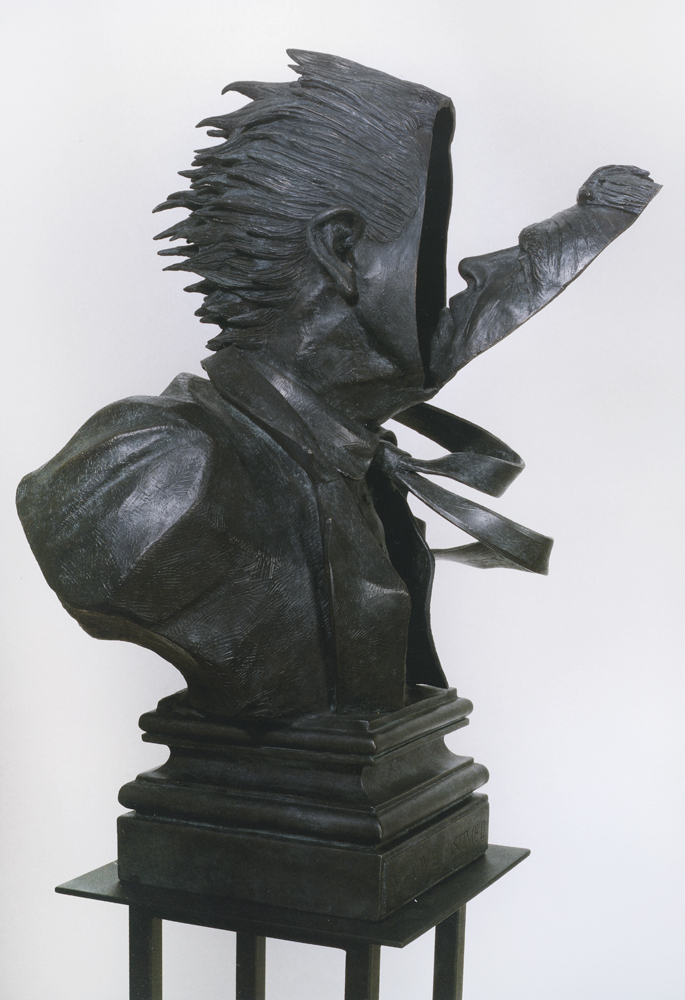 Terry Allen, National Pastime II face looks inward, 1991, Bronze, 33 x 23 x 15 inches