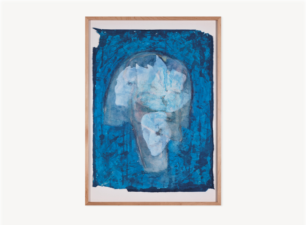 Terry Allen, Momo Chronicle IV: Rodez, Volver; Faces in his head blue, 2009, Gouache, pastel, color pencil, graphite, press type, spackle and collage elements, 39.25 x 28.25 inches