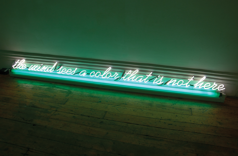 Ron Cooper, The Mind Sees A Color That Is Not Here, 1972, Neon and fluorescent light, 8 x 96 x 5 inches