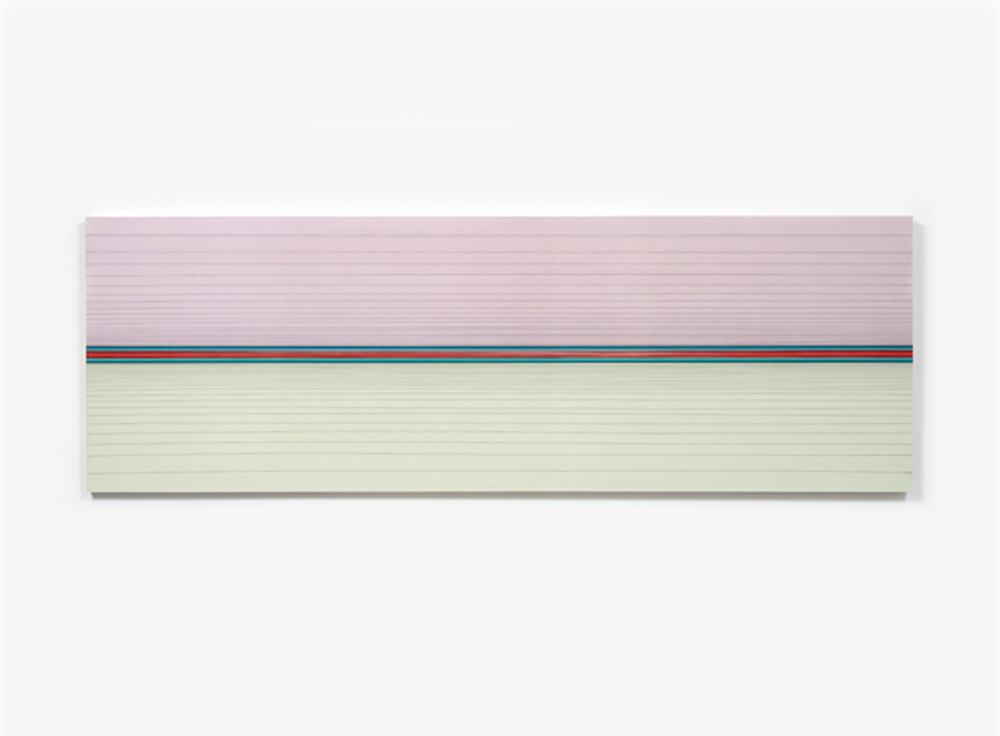 Brian Wills, Untitled (Surfboard), 2012, Oil, rayon thread and linear polyurethane on wood, 32 x 96 inches