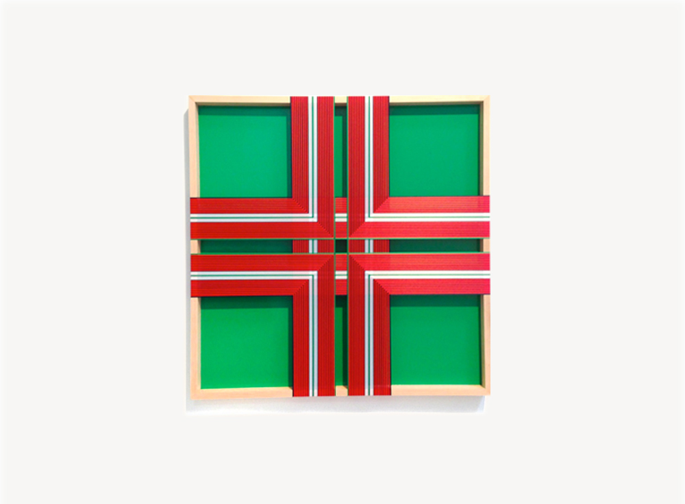 Brian Wills, Untitled (Club Green), 2013, Rayon thread and enamel on wood, 36 x 36 inches
