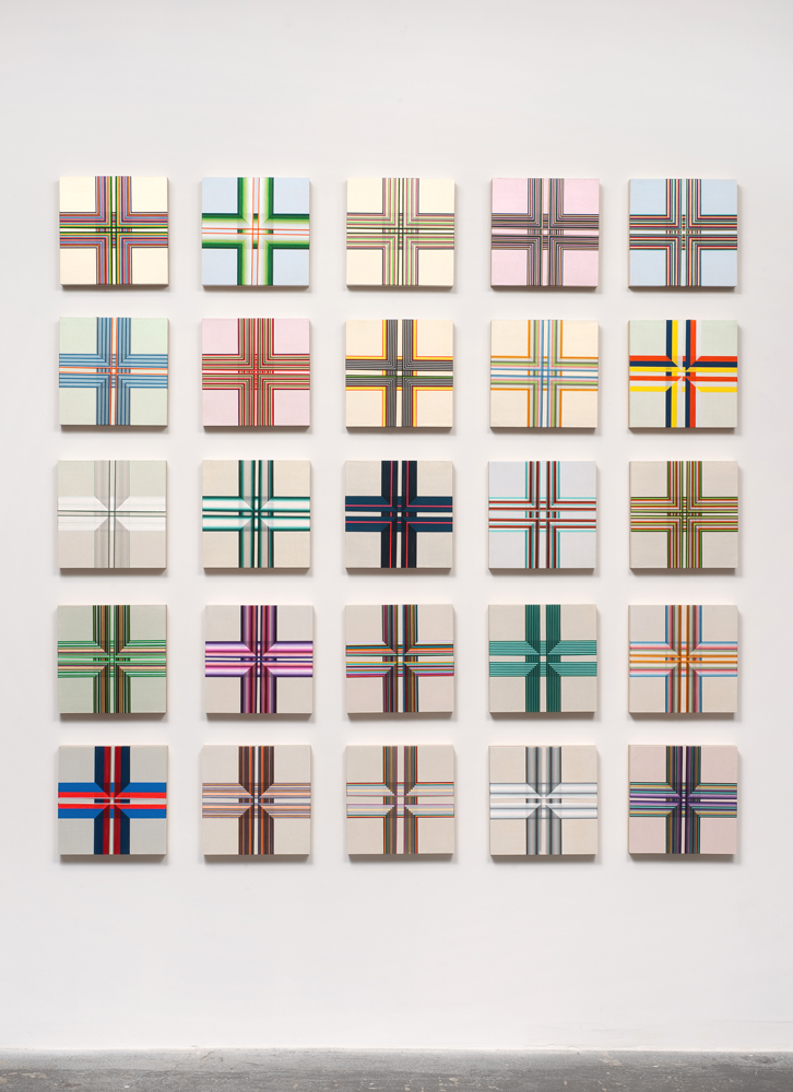 Brian Wills, Untitled 2012, Oil, rayon thread on wood, 25 panels: 12 x 12inches each