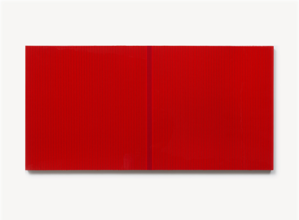 Brian Wills, Untitled 2012, Enamel, rayon thread, and linear polyurethane on wood, 24 x 48 inches