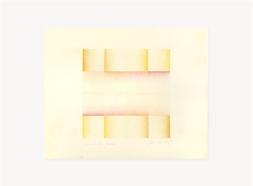 Judy Chicago, Study for Flesh Gardens/Big Blue Pink, 1971, Prismacolor on paper, 22 x 22 inches