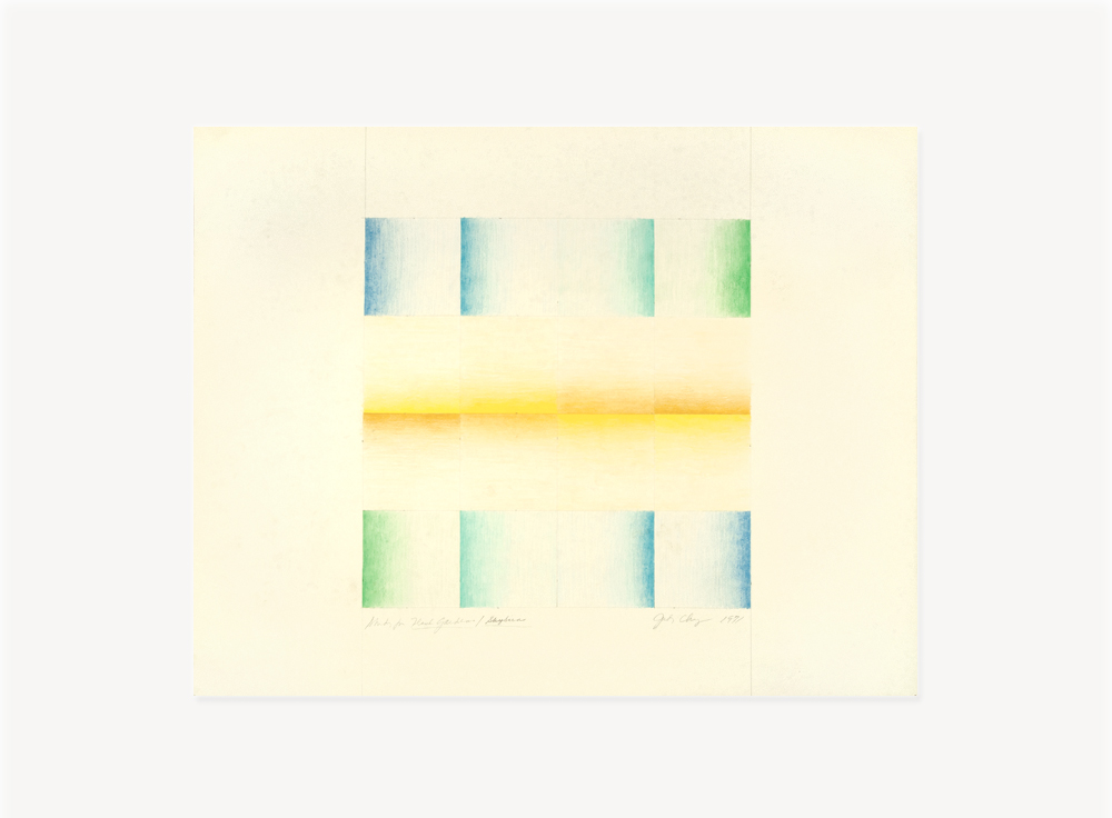 Judy Chicago, Study for Flesh Gardens (Pink and Yellow), 1971, Prismacolor on paper, 22 x 28 inches