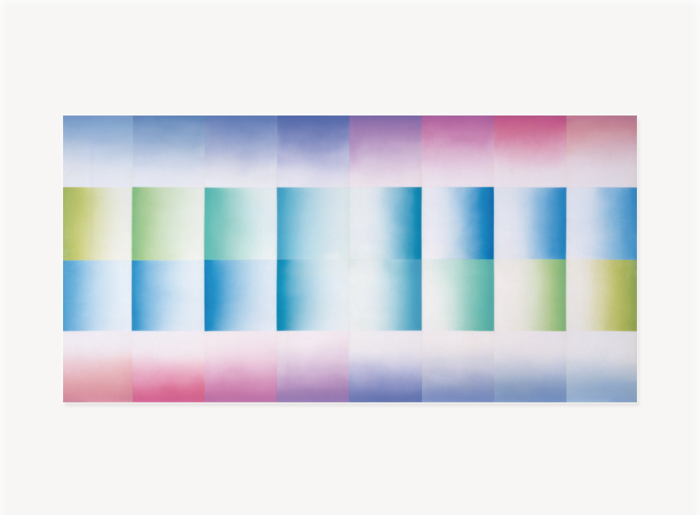 Judy Chicago, Birth Hood, 1965/2011, Sprayed automotive lacquer on 1965 Corvair Car Hood, 42.9 x 42.9 x 4.3 inches