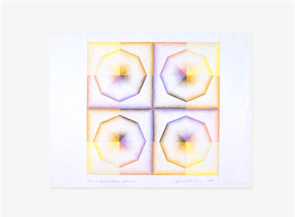 Judy Chicago, Study for Pasadena Lifesavers Yellow series, 1968, Prismacolor on paper, 24 x 18 inches
