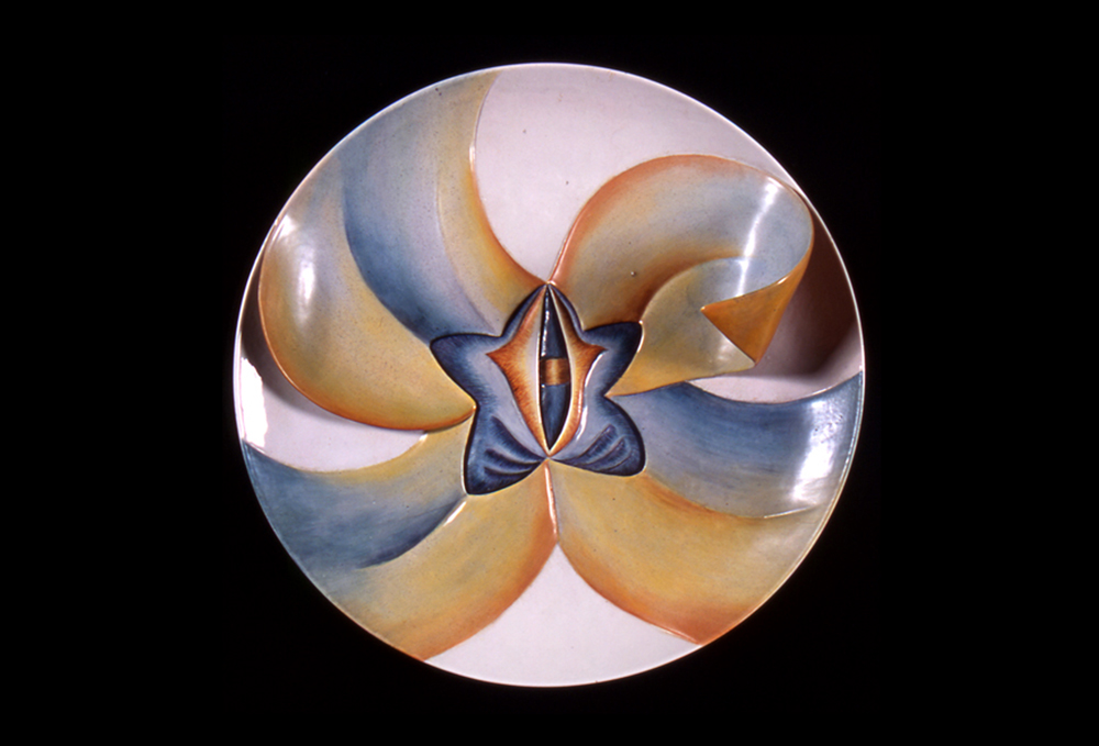 Judy Chicago, Caroline Herschel Test Plate (Early #2), 1975-1978, China paint on porcelain, 14 inches diameter