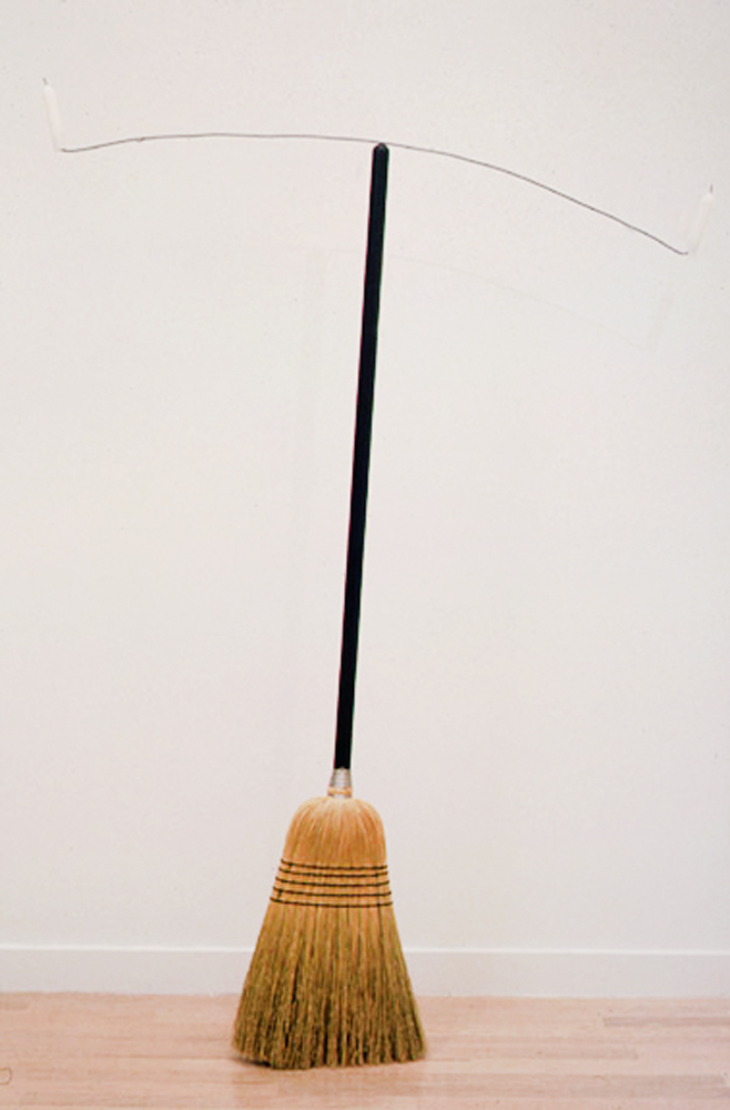Paul Kos, Equilibre II, 1992, Broom, coat hanger, 2 candles, 57 x 40 inches