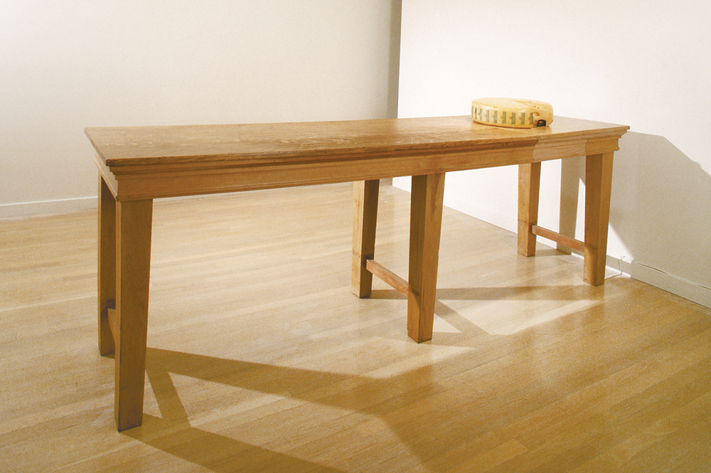 "Paul Kos, Tunnel, 1995, Wood table, cheese round, and toy train with track, 32 x 96 x 23.75 inches                                  Normal     0                     false     false     false         EN-US     JA     X-NONE                                                                                                                                                                                                                                                                                                                                                                                                                                                                                                                                                                                                                                                                                                                    /* Style Definitions */ table.MsoNormalTable 	{mso-style-name:""Table Normal""; 	mso-tstyle-rowband-size:0; 	mso-tstyle-colband-size:0; 	mso-style-noshow:yes; 	mso-style-priority:99; 	mso-style-parent:""""; 	mso-padding-alt:0in 5.4pt 0in 5.4pt; 	mso-para-margin-top:0in; 	mso-para-margin-right:0in; 	mso-para-margin-bottom:10.0pt; 	mso-para-margin-left:0in; 	mso-pagination:widow-orphan; 	font-size:12.0pt; 	font-family:Cambria; 	mso-ascii-font-family:Cambria; 	mso-ascii-theme-font:minor-latin; 	mso-hansi-font-family:Cambria; 	mso-hansi-theme-font:minor-latin; 	mso-fareast-language:JA;}"