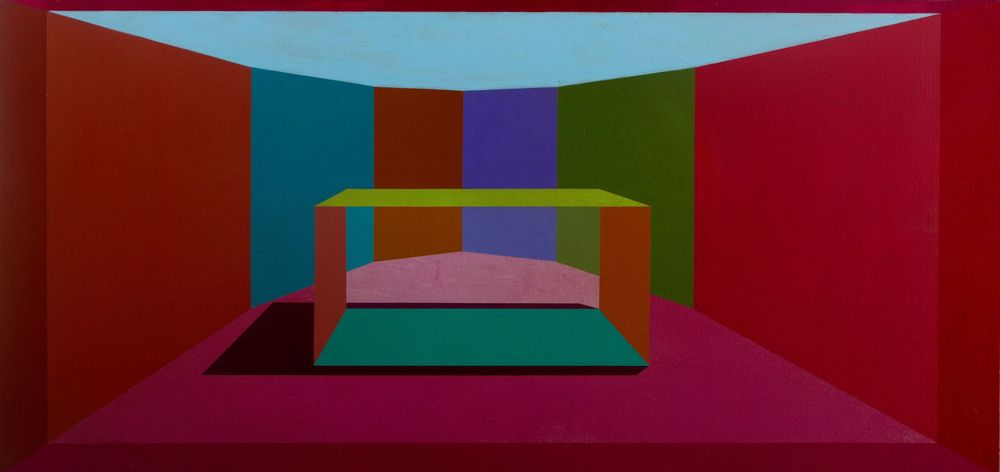 Rectangular, 1973, Acrylic on linen on board, 20 x 42 inches