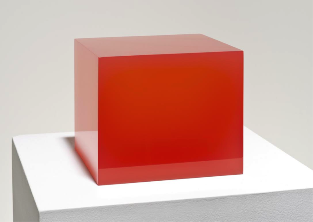 "Peter Alexander   Red Cube,2015  6"" x 8"" x 8"""