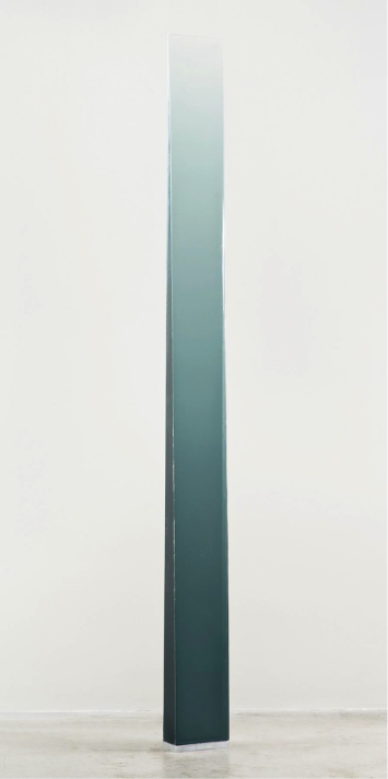 "Peter Alexander   Gray green wedge, 2014  Urethane  79"" x 5 1/4"" 4 1/2"""