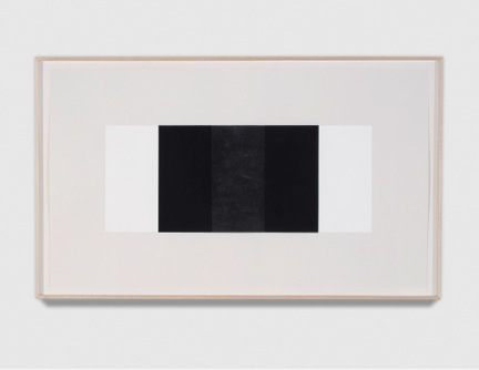 "Mary Corse    Untitled (Black vertical Band/Black outer Bands)  2001  Glass Microspheres in Acrylic on Paper  22 ¾"" x 38"""