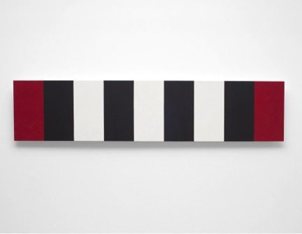 Mary Corse    Untitled (Red/White/Black Bands, Beveled),  2010  Glass microspheres in acrylic on canvas  2' x 9'