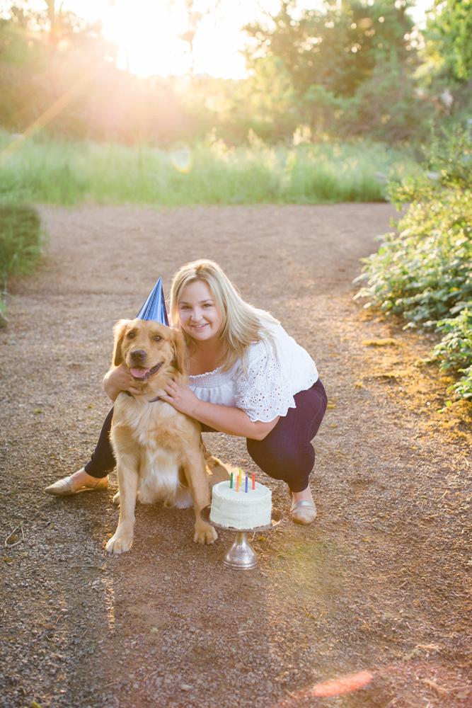 Golden Retriever birthday hat and birthday cake Three Dog Bakery