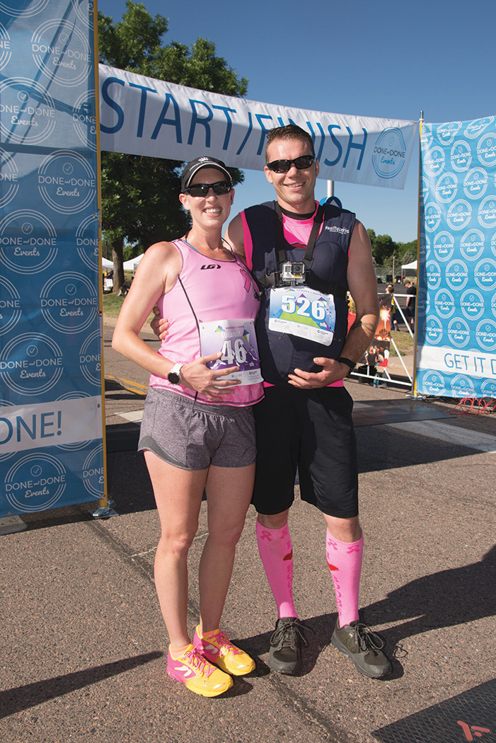 Lauren and Steve at the 2018 Heroes of Hope race. Lauren was 6 months pregnant, and Steve wore a pregnant belly in support of Lauren!