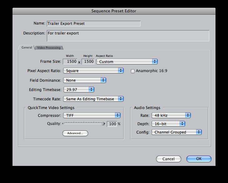 Final Cut Pro: Custom Sequence