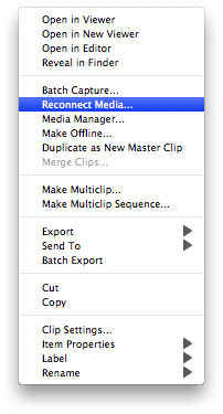 Final Cut Pro: Reconnect Media