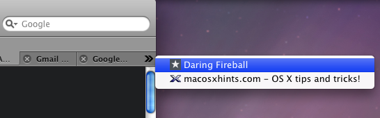 Safari: Tab Spillover Access