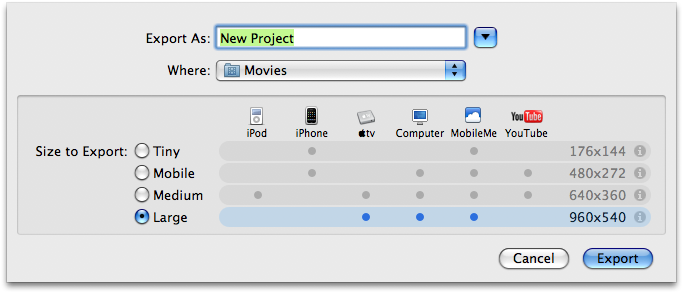 iMovie 8: Export Movie