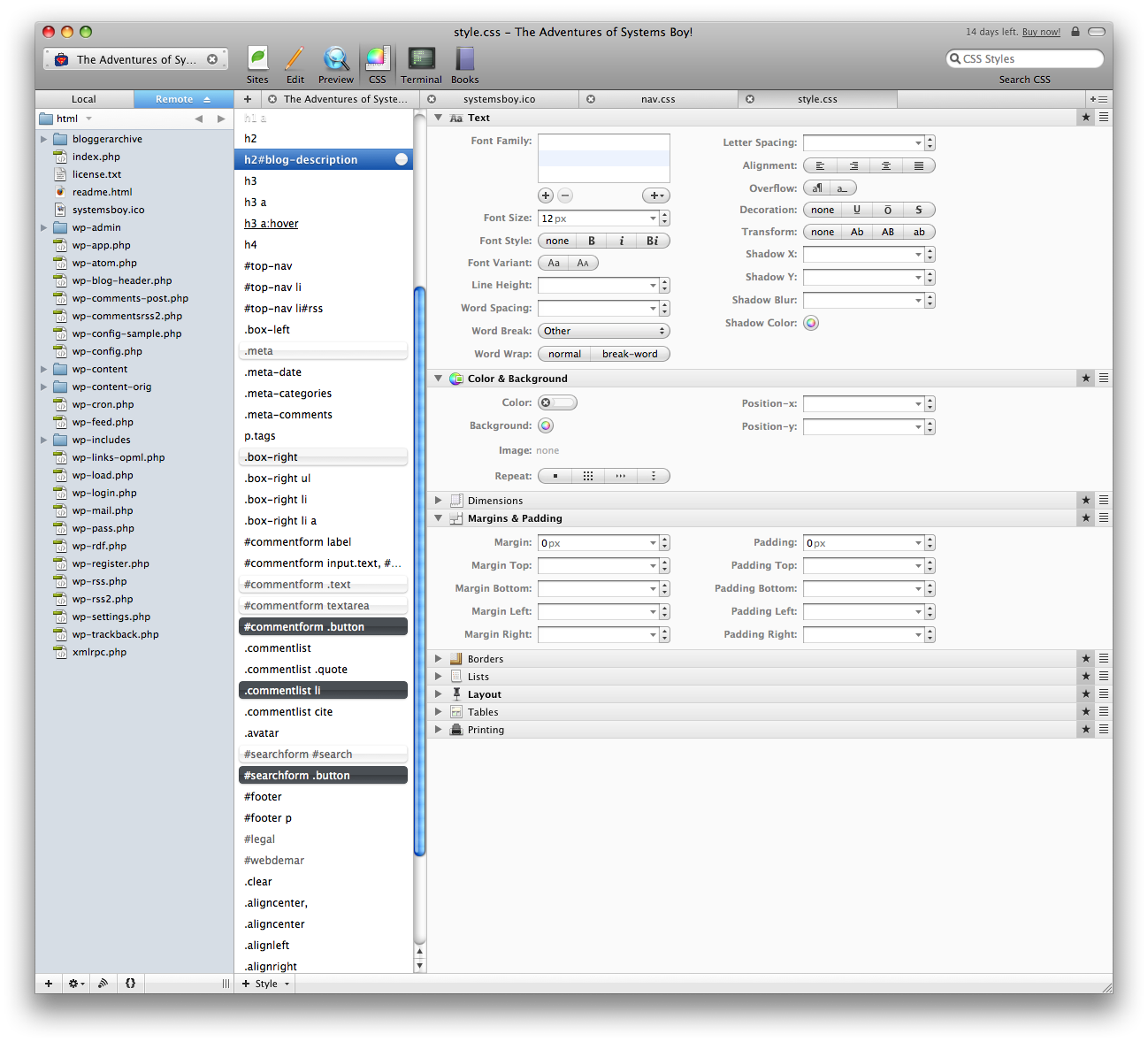 Coda: Fantastic Visual CSS Editing