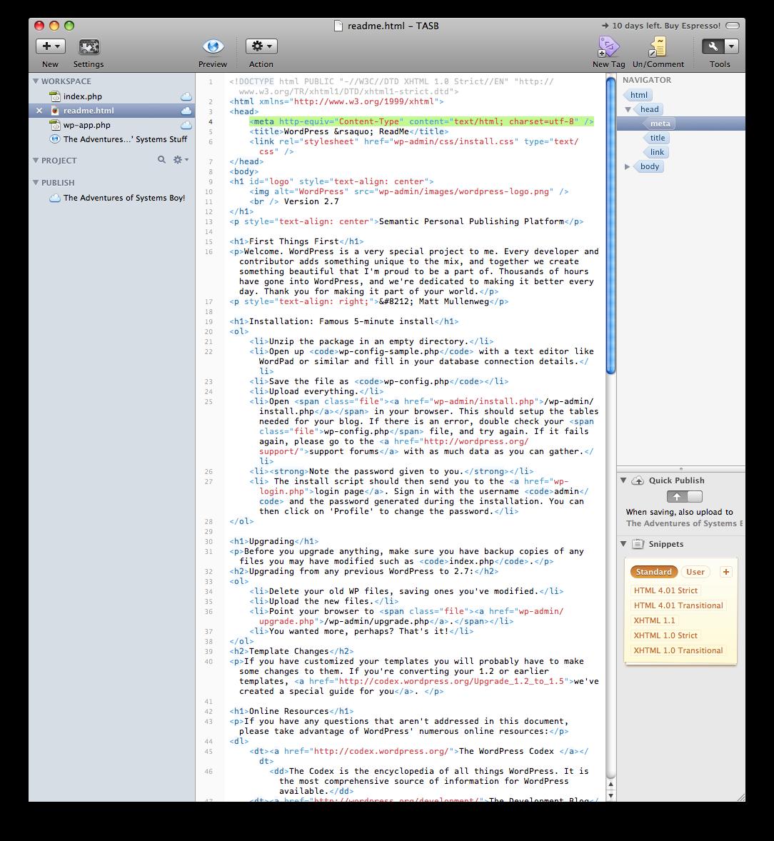 Espresso's Main Window: Workspace, Editor and Navigator