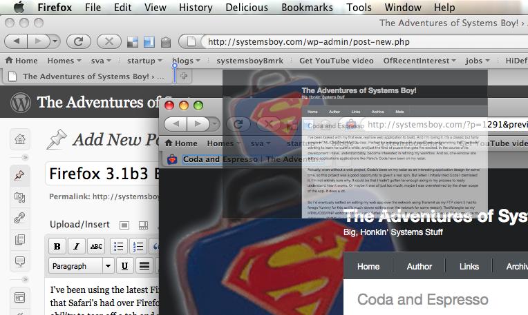 Firefox Beta 3.1: Tear-Off Tabs! Yay!