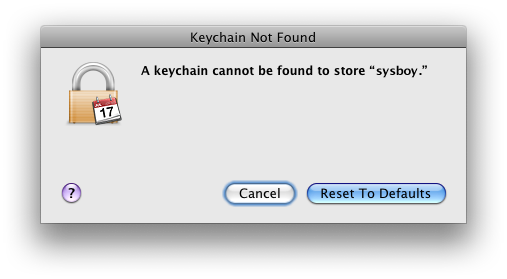 Keychain Not Found