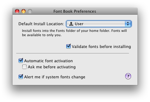Font Book Preferences