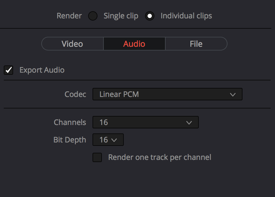 DaVinci Resolve audio output settings.