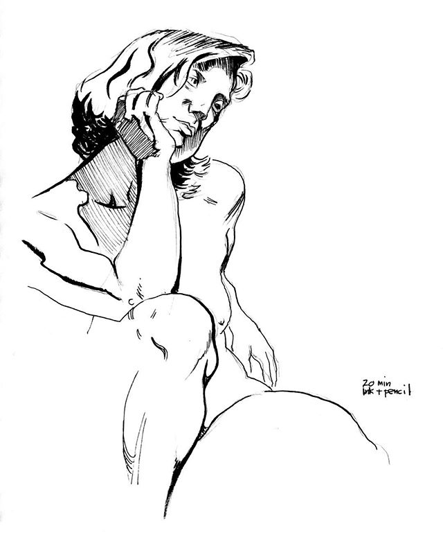 Life drawing, 20 minutes, ink & pencil. #figuredrawing #figure #drawing #sketchbook #sketch #inking #mikebarron #drawingnewyork #brushpen #pen #lifedrawing #art #fineart #line #penandink #figure #figurativeart #inkdrawing #nudemodeldrawing #femalenude #smudgingischeating #artmodel #mikebarronlifedrawing
