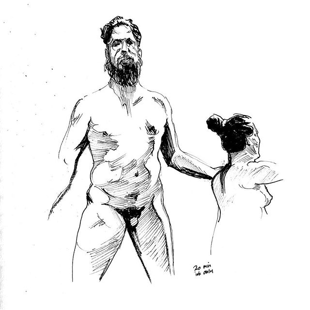 Life drawing, 20 minutes, ink only. #figuredrawing #figure #drawing #sketchbook #sketch #inking #mikebarron #societyofillustrators #brushpen #fountainpen #pen #lifedrawing #art #fineart #line #penandink #figure #figurativeart #inkdrawing #nudemodeldrawing #malenude #femalenude #inkonly #smudgingischeating #artmodel #mikebarronlifedrawing