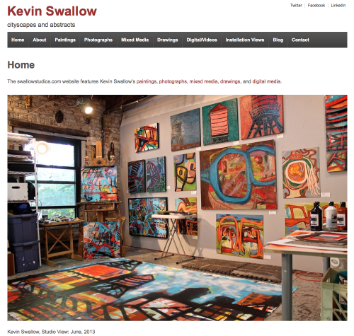 Kevin Swallow - Artist swallowstudios.com Website design and strategy, content organization, galleries, copywriting, photography, artwork, SEO, blog, and social media integration.
